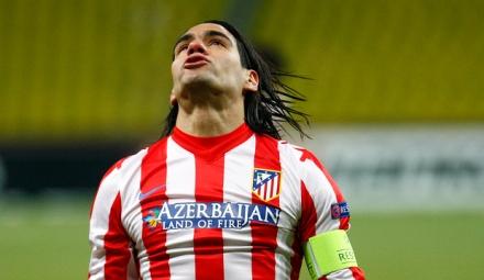 Falcao lamenta una ocasión durante el encuentro/Foto Atlético de Madrid